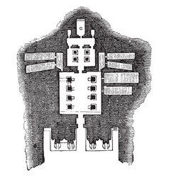 floor plan of the great temple abu simbel vintage vector image