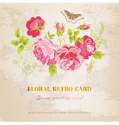 Floral Shabby Chic Card - vintage design vector image