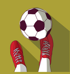 football player and soccer ball top view vector image