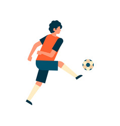 football player kick ball isolated sport vector image