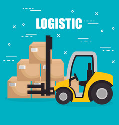 forklift vehicle with boxes logistic services vector image