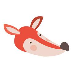 fox cartoon head colorful silhouette in white vector image