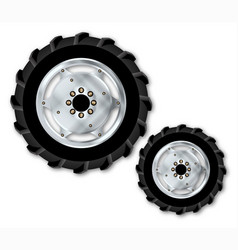 Front and rear tractor wheels vector