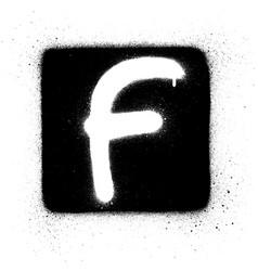 Graffiti f font sprayed in white over black square vector