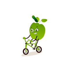 green bell pepper with smile on his face is riding vector image