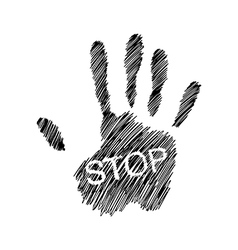 Hand raised with the word STOP vector image
