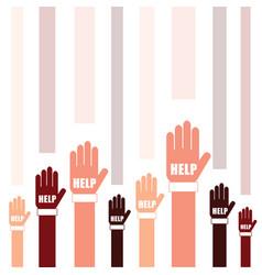 hands help set in two color art vector image