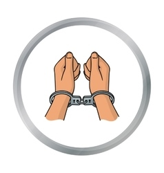 Hands in handcuffs icon in cartoon style isolated vector