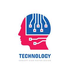 Head brain logo design computer electronic vector