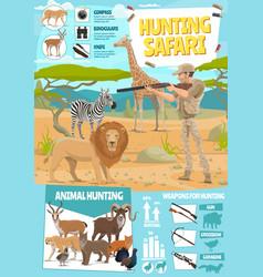 hunting safari hunter equipment infographic vector image