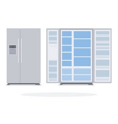 indoor and outdoor empty refrigerator with two vector image