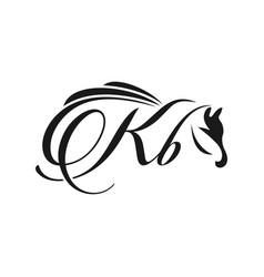 initials horse logo design kb vector image