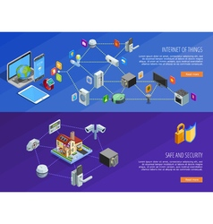 Internet Of Things 2 Isometric Banners vector image vector image