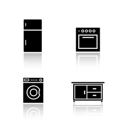 Kitchen appliances drop shadow icons set vector image