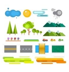 Landscape constructor icons set vector