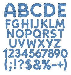 Letters numbers and signs of denim vector