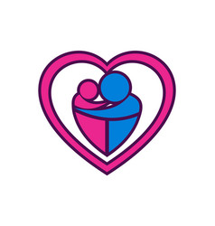 love mother and child logo icon vector image