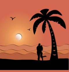 loving couple on the seashore paper art style vector image