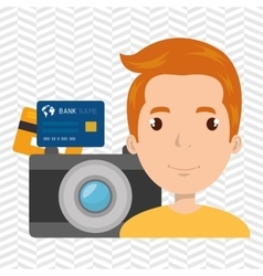 man camera tickets travel vector image