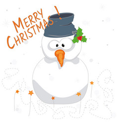 marry christmas snowman vector image