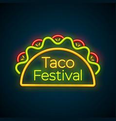 mexican tacos food bar neon light sign logo vector image