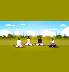 Mix race people sitting lotus position doing sport vector