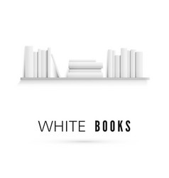 mockup bookshelf with blank white books on vector image