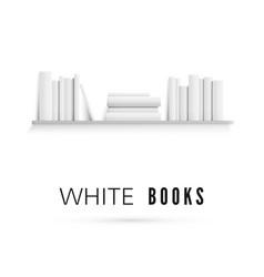 mockup bookshelf with blank white books vector image