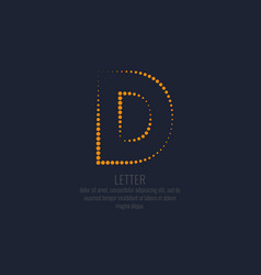 modern dotted letter d of the latin alphabet vector image