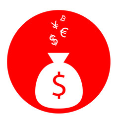 money bag sign with currency symbols vector image