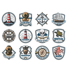 Nautical heraldry marine isolated icons vector