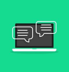 Online chatting in cartoon laptop vector