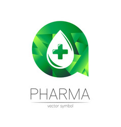 Pharmacy symbol drop with cross in green vector
