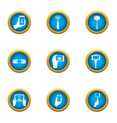 pictures of yourself icons set flat style vector image