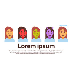 profile icon female different emotion set avatar vector image