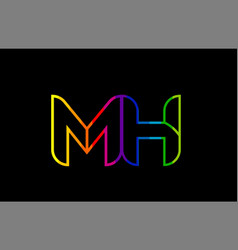rainbow color colored colorful alphabet letter mh vector image