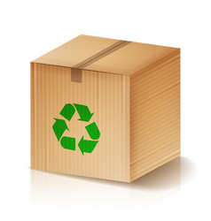 recycle box brown cardboard box with vector image