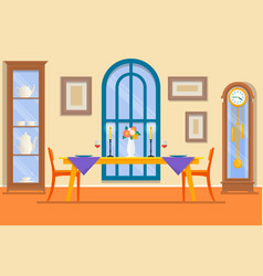 Restaurant or dining room interiordining table vector