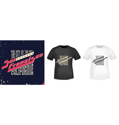 San francisco stamp and t shirt mockup vector