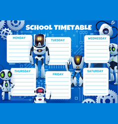 School timetable with cartoon robots and gears vector