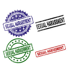Scratched textured sexual harassment seal stamps vector