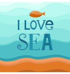 Sea background with fish vector image