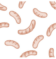 seamless pattern with hand drawn pastel sausages vector image
