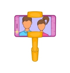 Selfie stick with mobile phone icon cartoon style vector image