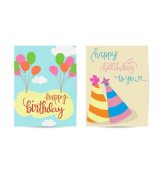 set colorful birthday cards design vector image