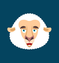 sheep happy emotion face avatar ewe merryl emoji vector image