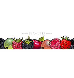Sketch garden berries with leaves seamless border vector