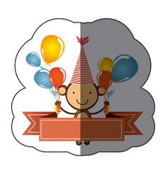 Sticker colorful cute monkey animal with balloons vector