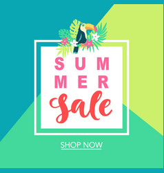 Summer sale tropical banner template background vector