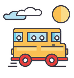 travel bus concept line icon editable vector image
